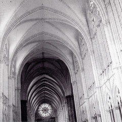 Amiens (Peter Gutierrez) Tags: world shadow bw white black france heritage history tlr film monument architecture contrast lens french la photo site reflex ancient europe european shadows cathedral interior gothic twin medieval architectural historic unesco notredame cathdrale peter nave age gutierrez middle notre dame monuments amiens ages ricoh gothique franais picardie contrasty ancienne shadowed shadowy damiens somme franaise picarde diacord peter historiques gutierrez