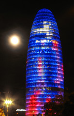 La torre i la lluna (SlapBcn) Tags: barcelona moon tower agbartower slap torreagbar nit lluna jeannouvel canong7 top20blue slapbcn