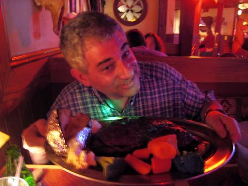 My dad models a three point five pound steak