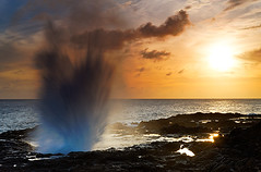 Spouting Horn at Sunset, Kauai, Hawaii (LivingWilderness.com) Tags: sunset sun nature water landscape hawaii lava coast scenic dramatic nobody spray pacificocean coastal blowhole kauai hawaiian spoutinghorn coastline pressure lavashelf