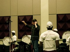 Location recording with Jim Casella conducting BCC Drumline for a Cadillac spot