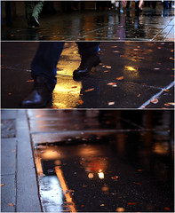 pedestrian (ewitsoe) Tags: seattle autumn people cold reflection fall wet rain shopping walking 50mm washington nikon shoes downtown triptych dof cloudy bokeh pedestrians pacificnorthwest wa pnw d80