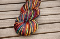 'rainbow night' on superwash BFL/nylon sock