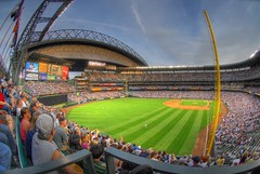 Safeco Field Fisheye HDR (ArtBrom) Tags: seattle washington nikon baseball stadium fisheye mariners safeco d200 rangers hdr sodo outfield 105mm photomatix