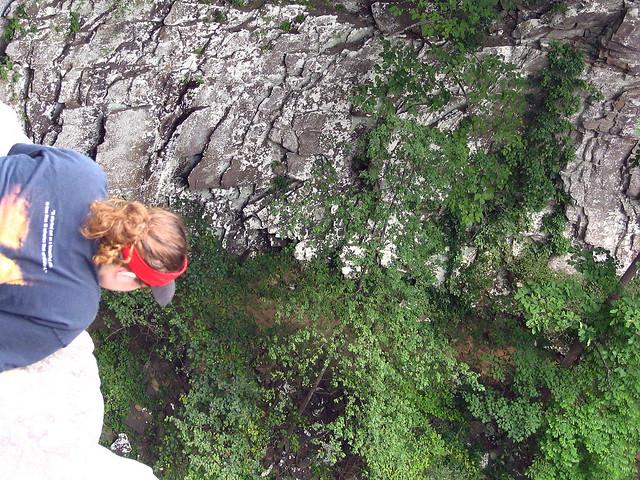 MariLynn admiring / respecting the 110 foot drop
