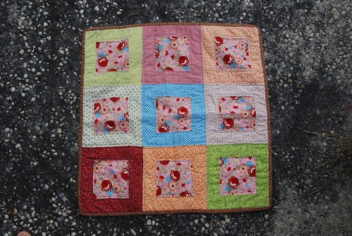 Front of doll quilt swap received from Julie
