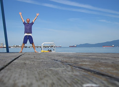 Clive on the Slide Pontoon (Clive Andrews) Tags: sea canada beach me water vancouver swimming self andrews bc britishcolumbia englishbay yvr clive img8246jpg cliveandrews ©cliveandrews2007allrightsreserved whyyvr