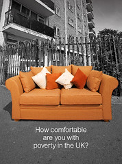 UK Poverty: leaflet sofa cover