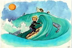 SurfBoy (Mayastar) Tags: illustration comics surf surfer illustrations sharks forkids surfista ecoline fumetto squali inchiostricolorati mayastar forsmallpeople peripiccoli