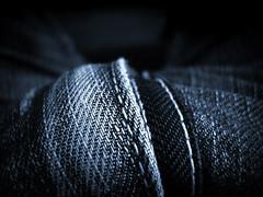 Blue denim seam (Villi.Ingi) Tags: blue black macro closeup sepia dark denim seams