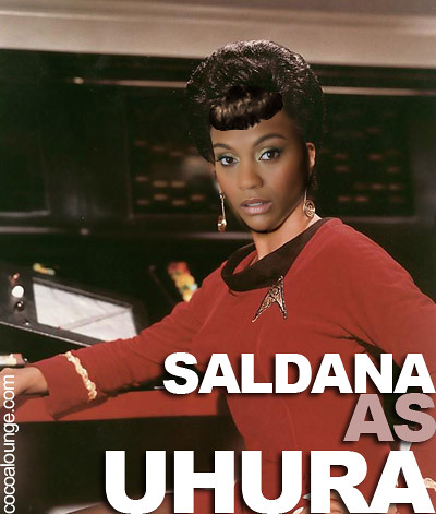 The Cocoa Lounge's recreation of Zoe Saldana as Nichelle Nichols' Lt. Uhura.