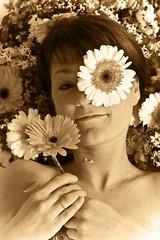 petal pusher (enjoythelittlethings) Tags: flowers flower smile sepia daisies self canon montana pretty mt gerbera grin daisy 365 cliche billings billingsmt 365project