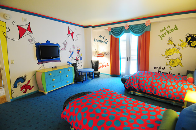 hotel room tour dr seuss kids suites at portofino bay pioneer