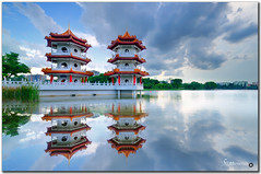 singapore chinese garden - reflection (fiftymm99) Tags: sunset lake reflection water japanesegarden pagoda nikon singapore lakeside chinesegarden reservour fiftymm singaporechinesegarden nikond300 twinpagoda fiftymm99