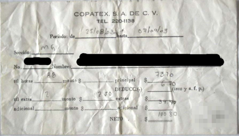 Copatex pay stub