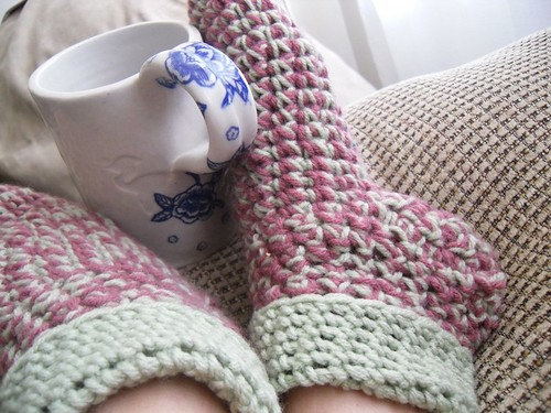 crocheted sock slippers by ElyciaCamille