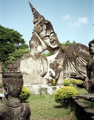 Xieng Khuan Buddha park (Linda De Volder (the new layout is horrible)) Tags: travel geotagged asia southeastasia culture laos vientiane xiengkhuan lindadevolder photonegativescan