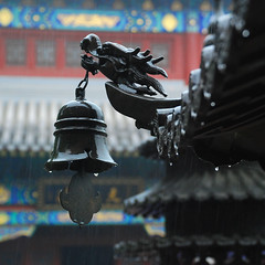 Taiqing Gong (NowJustNic) Tags: china rain temple nikon dragon bell bokeh raindrops  qingdao laoshan shandong incenseburner  classtrip  tsingtao   d80 abigfave nikkor18135mm taiqingtemple taiqinggong