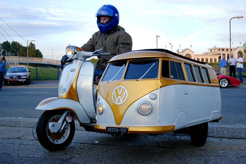 Scooter with sweet VW Bus sidecar.