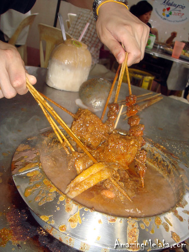 Capitol Satay Celup - Dipping Sticks of Foods into Boiling Peanut Satay Sauce
