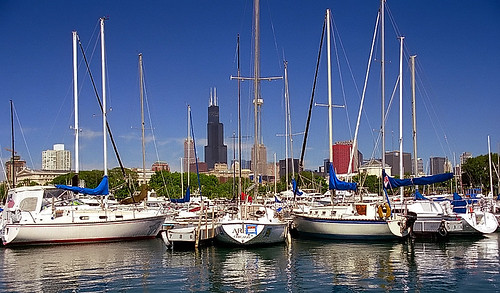 pictures travel chicago reflection tower tourism skyline architecture buildings boats photography harbor illinois nikon sailing waterfront photos pics searstower cities adventure sailboats nikkor masts n90 willis burnham lakefront cookcounty chicagoland 28200mm travelphotography burnhamharbor cityphotography