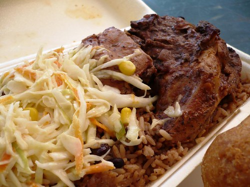 Jerk Chicken and Salad, Rice and Peas