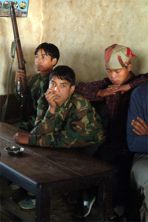 Boy soldiers, Child soldiers of the Maoist rebel group in Gufa Pokhari in the hills of East Nepal. April, 2006 by Kashish Das Shrestha