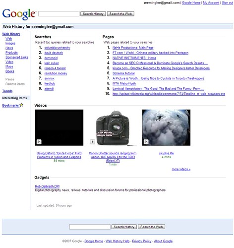 SML Flickr: SML Google: Web History: Interesting Items / 2007-09-26T21:41-04:00 / SML