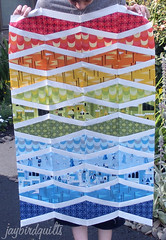 new wave with castle peeps! (Jaybird Quilts) Tags: quilt fabric kona newwave lizzyhouse castlepeeps