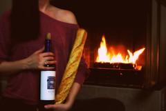 a loaf of bread, a jug of wine... (elle.hanley) Tags: red portrait food woman home me female self french bread fire place wine feminine hearth malbec selfie sonya330 vivadeva