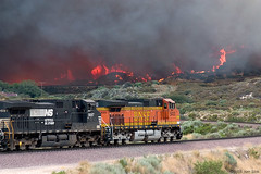 Flames and train (K-Szok-Photography) Tags: california canon outdoors fire trains socal transportation canondslr bnsf locomotives cajon railroads inlandempire cajonpass alltrains movingtrains sbcusa alltypesoftransport goldendiamondblog