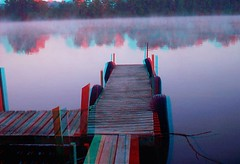 Foggy River (3D) (lunarman1959) Tags: morning trees reflection nature water misty sunrise river boats outdoors pier stereoscopic 3d dock anaglyph walkway byronillinois oglecounty