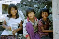 Children playing in the Bayon (Linda DV) Tags: 2001 travel people cute barn children geotagged kid asia cambodia child young culture kind criana angkor enfant nio bayon dziecko bambino    lapsi copil dijete  dt    culturaltravel lindadevolder  photonegativescan