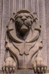 The Lion at the Gate, Vancouver (Thad Roan - Bridgepix) Tags: bridge winter canada statue architecture vancouver concrete bc suspension britishcolumbia details lion bridges burrardinlet stanleypark lionsgatebridge olympics hdr bridging firstnarrows 200707 photomatix bridgepixing bridgepix