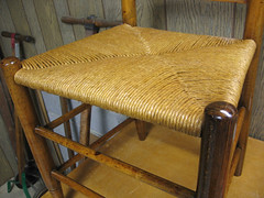 seat with 1st shellac coat (jurrble) Tags: rushseat