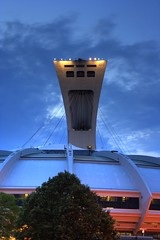 Olympic Stadium - HDR (Luc Deveault) Tags: canada canon sundown montral quebec stadium montreal qubec luc olympic rebelxt hdr stade olympique deveault lucdeveault