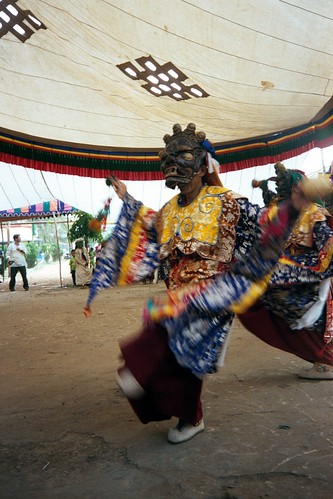 Cham Dance during Tibetan New Year celebration at Dzongkar Choede Monastery