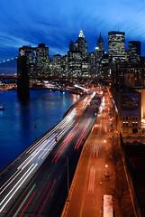 Lower Manhattan Skyline (Sam Rohn - 360 Photography) Tags: nyc newyorkcity longexposure sunset sky usa newyork blur skyline architecture night interesting twilight nikon highway dusk manhattan trails d200 nikkor fdr widok miasto locationscouting locationscout jork nowy 2870mmf28d zmierzch wspaniay samrohn