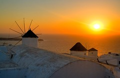 Windmills (Michael Rugosi) Tags: ocean old sunset sea sky sun white water windmill beautiful island paint sharp clear santorini greece ripples rays sunrays hdr