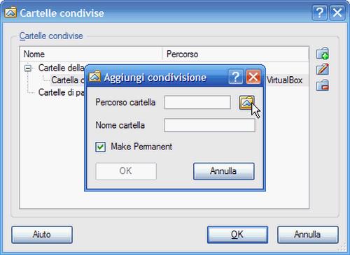 Fig. 14 - VirtualBox cartelle condivise - Percorso cartella