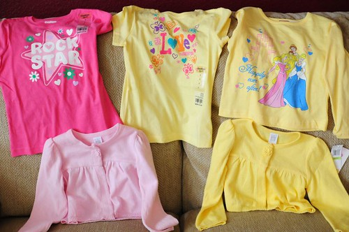 Some cool pink and yellow clothes from the grandparents