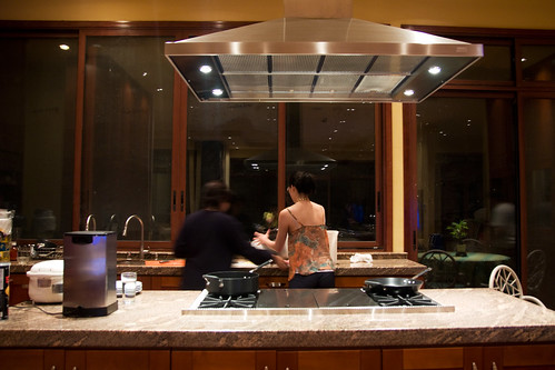 time to cook in the huge kitchen