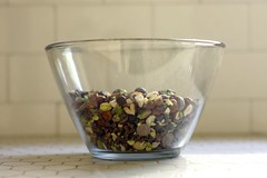 chocolate chips, hazelnuts and pistachios