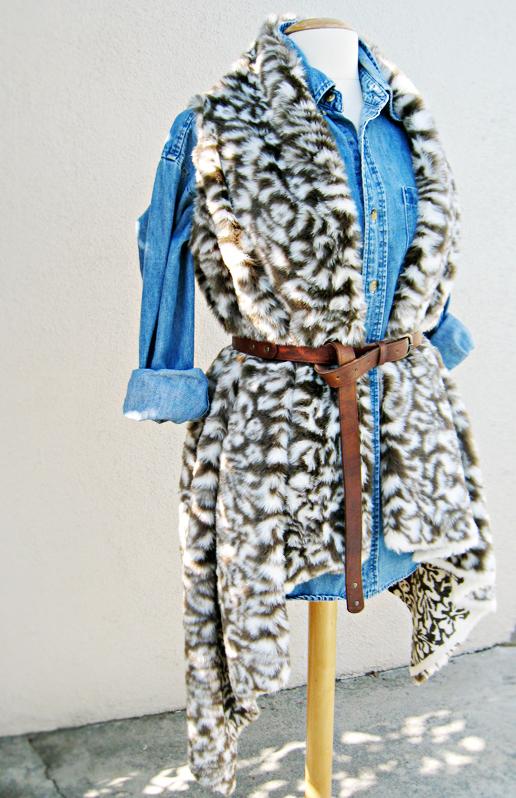 Asymmetrical Faux Fur Vest DIY - with denim shirt and belt