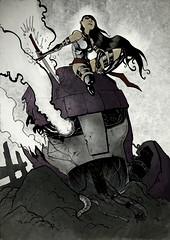 [フリー画像] グラフィックス, イラスト, 人物(イラスト), 剣・刀, 201011182300
