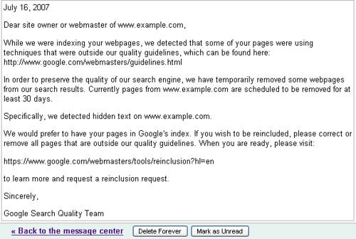 google webmaster message