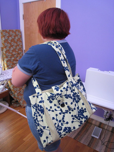 Kim modeling her new bag