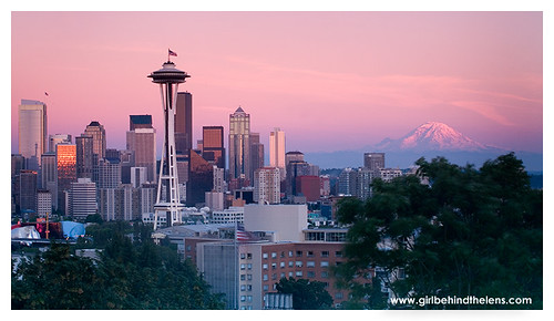 A deliciously pink sunset over Mount Rainier and the Seattle Skyline