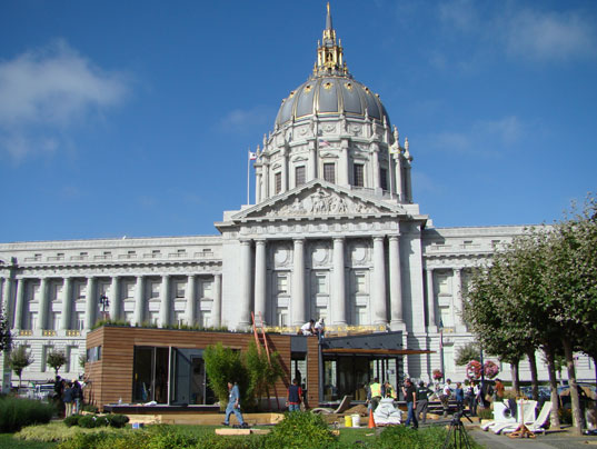 MK Lotus In Front of San Francisco City Hall, MkLotus Xeriscaping, MKLotus Solar Installation, MKLotus Greenroof, Green roof and skylights up close, Greywater Filter, MkLotus Water Filtration, MkLotus Bedroom, Michelle Kaufman's MKLotus Green Prefab House, Eco Prefab, Zero Energy Prefab, Michelle Kaufman Designs, MKDesigns, Zero-Energy Prefab, Sustainable Prefab, West Coast Green, City Hall, Jill Fehrenbacher