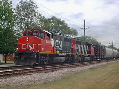 Westbound Canadian National Railroad transfer train. North Riverside Illinois USA. June 2007.